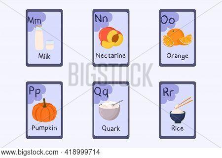 Colorful Alphabet Flashcard Letter M, N, O, P, Q, R - Milk, Nectarine, Orange, Pumpkin, Quark, Rice.