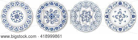 Porcelain Plates, Blue On White Pattern In Oriental Asian Style. Abstract Floral Ornament With China