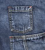 Close up of blue jeans pockets . poster