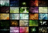 Futuristic Web Cyber Data Grid Color Background poster