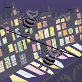 illustration of raccoons dressed as a burglar moving along the rope above the night city poster