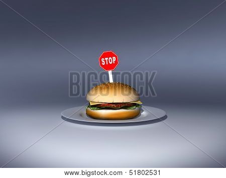 Burger with a stop sign