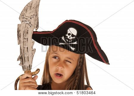 Young brunette girl pirate's contume with sword poster