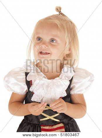 Cute Blond Girl In Simple Pirates Costume Smiling