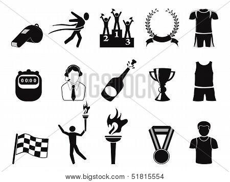 Black Sports Icons Set