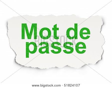 Safety concept: Mot de Passe(french) on Paper background