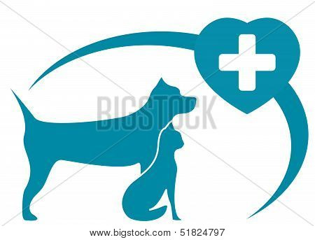 blue veterinary symbol with pedigreed dog, cat on white background poster