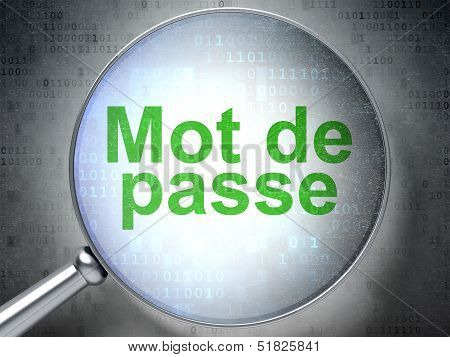 Safety concept: Mot de Passe(french) with optical glass on digit
