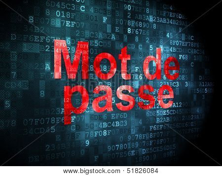 Protection concept: Mot de Passe(french) on digital background
