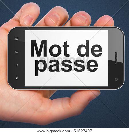 Security concept: Mot de Passe(french) on smartphone