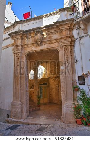 Perspective of an historical palace of Noci. Puglia. Italy. poster
