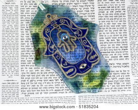Hamsa Kabala Good Luck Charm On Talmud
