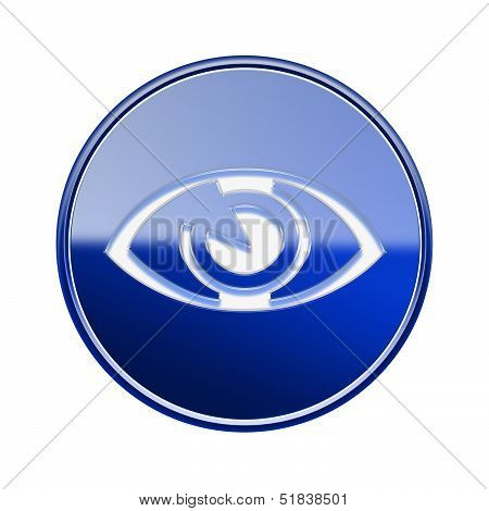 Eye Icon Glossy Blue, Isolated On White Background.