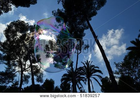 Beautiful bubble floating in the air under a blue cloud rich sky. poster