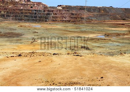 Iron pyrite, Corta Atalaya, the largest open pit mine in Europe, Minas de Riotinto, Nerva. Huelva province, Andalusia, Spain poster
