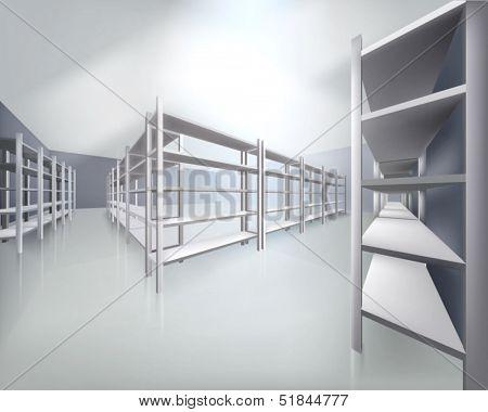 Empty shelves in store. Vector illustration.