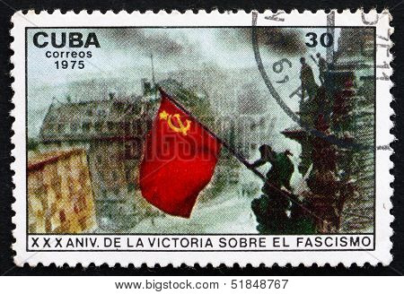 Postage Stamp Cuba 1975 Red Flag Over Reichstag, Berlin