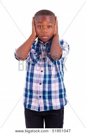African American Boy Hiding Ears  - Black People