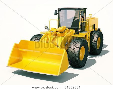 Modern front loader on light background with shadow