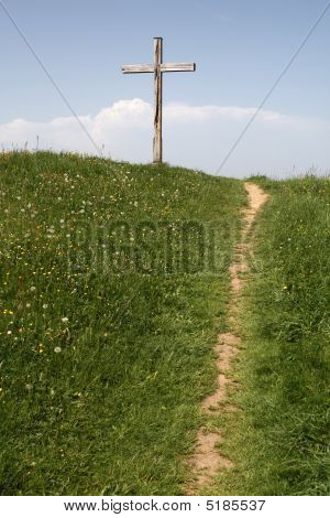 Path Leads To Wooden Cross