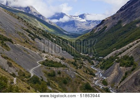 Beautiful Landscape Of A Valley At Torres Del Paine