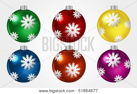 Set Of Colorful Christmast Balls