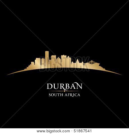 Durban South Africa City Skyline Silhouette Black Background