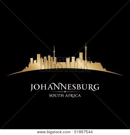 Johannesburg South Africa City Skyline Silhouette Black Background