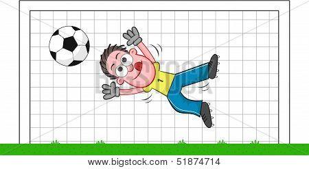 Cartoon Goalkeeper Catching Ball