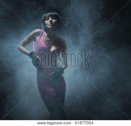 Young, beautiful and sexy woman in fetish dress poster
