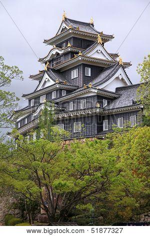 Okayama Japan - city in the region of Chugoku (Honshu island). Okayama-jo castle. poster