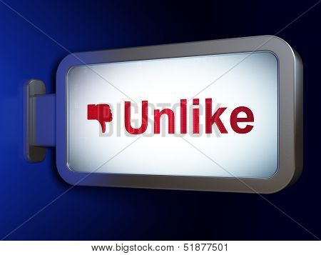 Social network concept: Unlike and Unlike on billboard backgroun