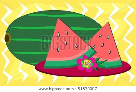 Watermelon Slices and Flower