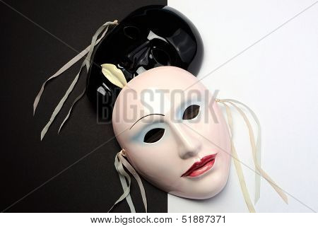 Black And White Theme Ceramic Masks For Actin, Performance Or Theatre Concept.