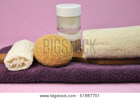 Pink And Purple Beauty Spa Accessories And Tools - Towel, Loofahs, Spinge And Moisterizers - Against