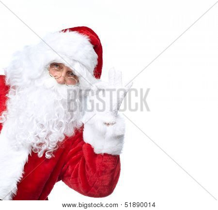 Santa Claus isolated on white background. Christmas holiday party.