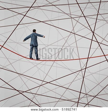 Focused On Strategy with a businessman as a high wire tight rope walker confronting adversity with a web of confused tangled group of wires trying to distract from the planned business goal for success. poster