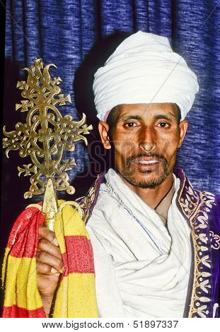 Coptic Priest In Ethiopia In His Church