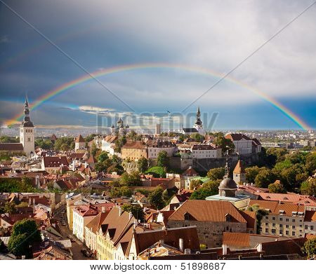 Rainbow over old Tallinn