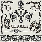 Set Of Classic Floral Decoration Elements editable vector illustration poster