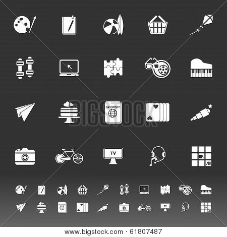 Hobby Icons On Gray Background
