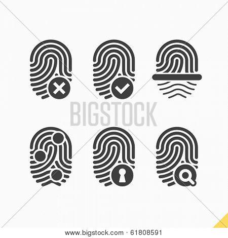 Fingerprint icons set. Vector.