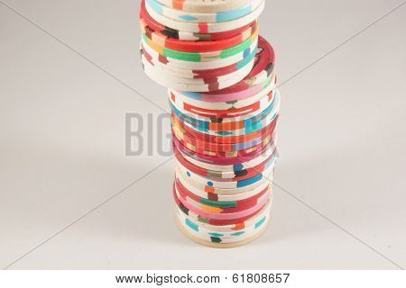 Large Stack Of Casino Chips From Various Places