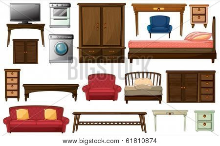Illustration of the house furnitures and appliances on a white background