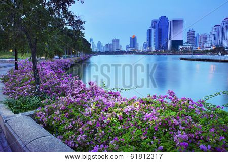 Beautiful Land Scape  With Magenta Papers Flowers And Water Pond Of Modern Building In New Business