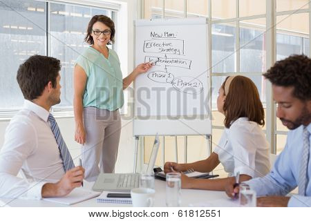Young businesswoman giving presentation to colleagues in a bright office