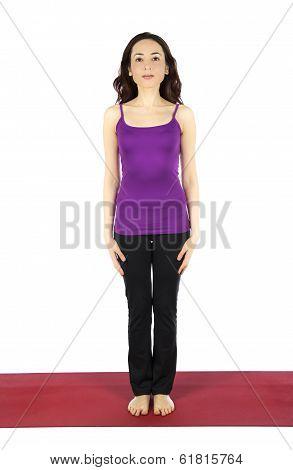 Woman In Mountain Pose During Yoga