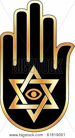 Icon for psychic or fortune teller- Star of David on ahimsa hand