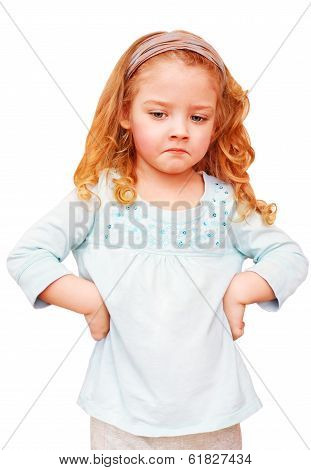 Unhappy little girl on a white background