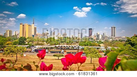 Panoramic view on Nairobi , Kenya.  Africa. poster